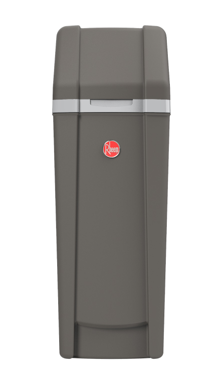 Front view of Rheem Preferred Water Softener showing the dark grey color and red rheem logo