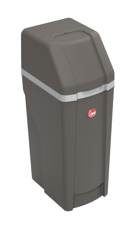 Angled side view of Rheem Preferred Water Softener showing the dark grey color and red Rheem logo