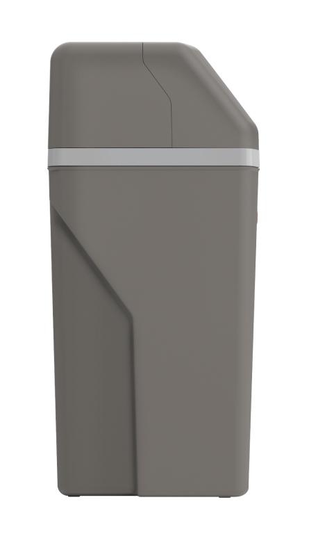 Side view of Rheem Preferred Water Softener showing the dark grey color.