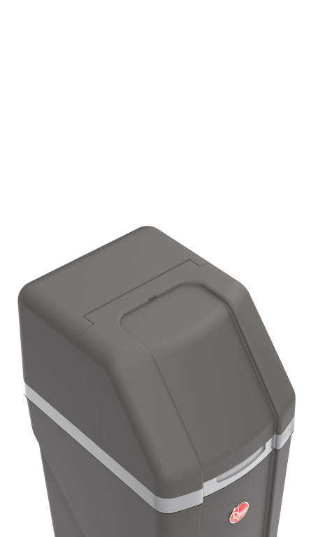 Angled top-down view of Rheem Preferred Water Softener showing the sloped curve of the top and dark grey color.