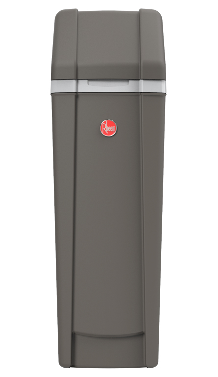 Front View of Rheem Water Softener showing the dark grey color and red Rheem logo
