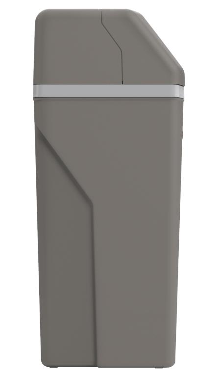 Side View of Rheem Water Softener showing the dark grey color