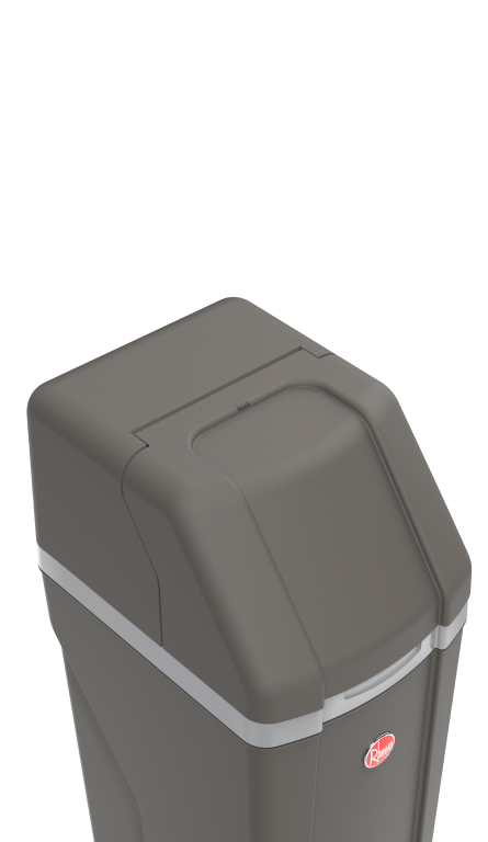 Angled top-down view of Rheem Water Softener showing the dark grey color and angled top